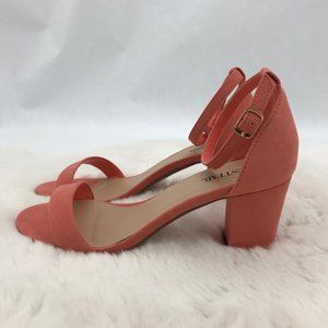 JustFab Vivica Strapped Heels: Coral | Size 7